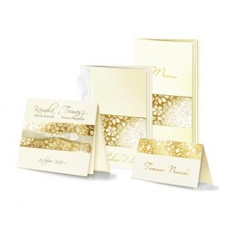 Zestaw zaproszeń ślubnych składający się z zaproszenia ślubnego, menu weselnego i winietki na stół Parma