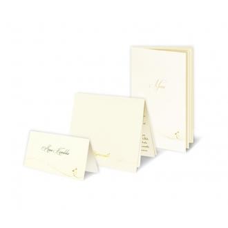 Zestaw zaproszeń ślubnych składający się z zaproszenia ślubnego, menu weselnego i winietki na stół Mirage
