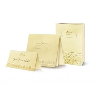 Zestaw zaproszeń ślubnych składający się z zaproszenia ślubnego, menu weselnego i winietki na stół Moreno