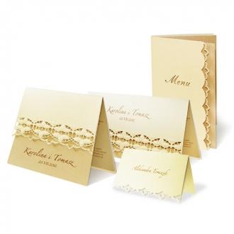 Zestaw zaproszeń ślubnych składający się z zaproszenia ślubnego, menu weselnego i winietki na stół Lotus