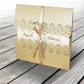 Zestaw zaproszeń ślubnych składający się z zaproszenia ślubnego, menu weselnego i winietki na stół Nea II