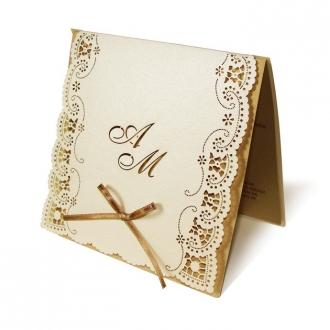 Zestaw zaproszeń ślubnych składający się z zaproszenia ślubnego, menu weselnego i winietki na stół Vintage II