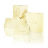 Zestaw zaproszeń ślubnych składający się z zaproszenia ślubnego, menu weselnego i winietki na stół Casablanca