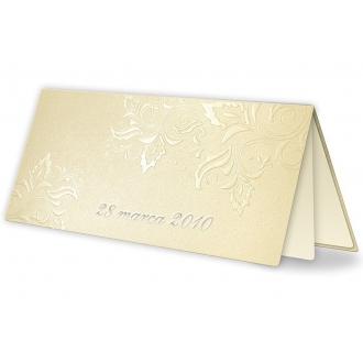 Zestaw zaproszeń ślubnych składający się z zaproszenia ślubnego, menu weselnego i winietki na stół Casablanca III