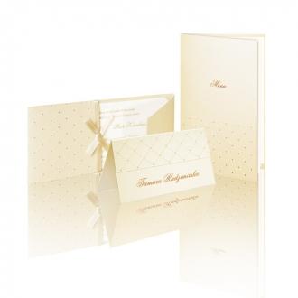 Zestaw zaproszeń ślubnych składający się z zaproszenia ślubnego, menu weselnego i winietki na stół Kalabria