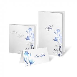 Zestaw zaproszeń ślubnych składający się z zaproszenia ślubnego, menu weselnego i winietki na stół Blooms