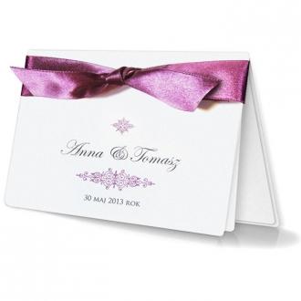 Zestaw zaproszeń ślubnych składający się z zaproszenia ślubnego, menu weselnego i winietki na stół Bueno II