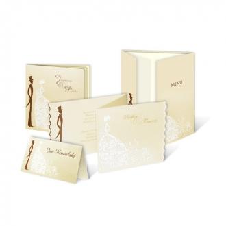 Zestaw zaproszeń ślubnych składający się z zaproszenia ślubnego, menu weselnego i winietki na stół Młoda Para