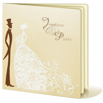 Zestaw zaproszeń ślubnych składający się z zaproszenia ślubnego, menu weselnego i winietki na stół Para Młoda