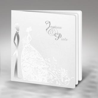 Zestaw zaproszeń ślubnych składający się z zaproszenia ślubnego, menu weselnego i winietki na stół Romance II
