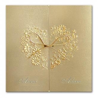 Zaproszenia Ślubne z Wytłoczonymi Kwiatami w Kształcie Serca 064.03.01