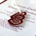 Zaproszenia Ślubne Bordowe z Sercami F1346bg