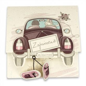 Zaproszenia Ślubne z Młodą Parą Samochód F1367
