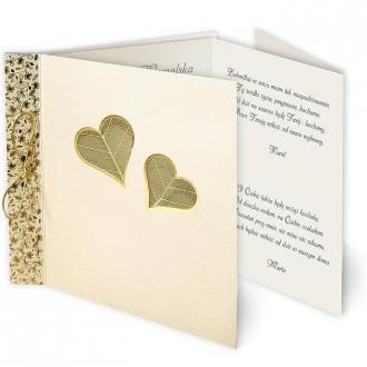 Zaproszenia Ślubne w Dwa Serduszka Obramowane Złotą Folią F1018o