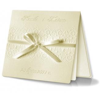 Zaproszenia Ślubne Kwadratowe z kokardą F994o