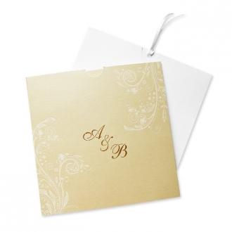 Zaproszenia Ślubne w Kwiatowy Ornament Wykonany Białą Folią F1041tz