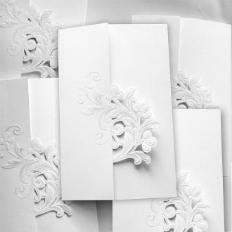 Zaproszenie Białe z Motywem Kwiatowym F1269tb