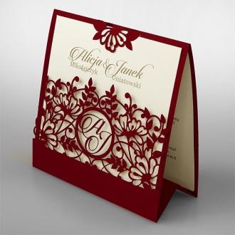 Zaproszenia Ślubne w Kolorze Borodowym F1376bg