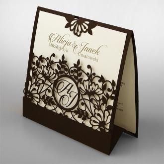 Zaproszenia Ślubne w Kolorze Ciemnego Brązu F1376br