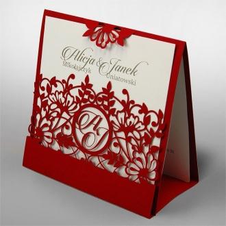Zaproszenia Ślubne w Kolorze Czerwonym F1376cp