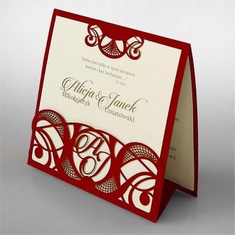 Zaproszenia Ślubne w Kolorze Czerwonym F1377cp