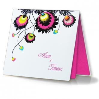 Zaproszenia Ślubne z Kolorowymi Kwiatami Folk F1112