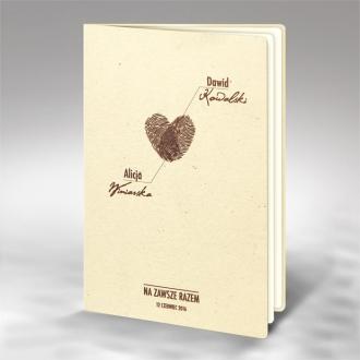 Zaproszenia Ślubne Odciski Palców w Krztałcie Serca F1255