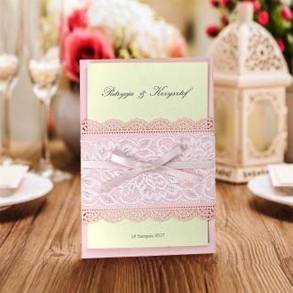 Zaproszenie z Koronką w Kolorze Różowym CW5030