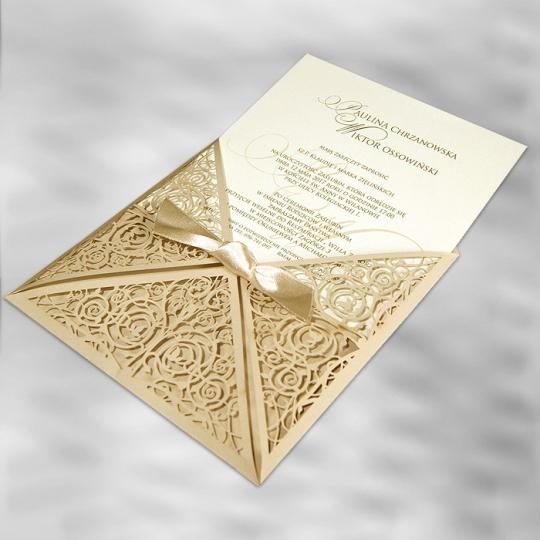 Zaproszenia Ślubne w Kolorze Beżowym Cięte Laserowo F1293p