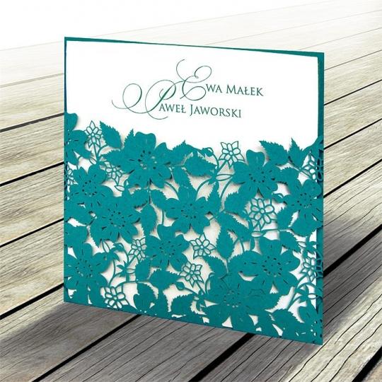 Zaproszenia Ślubne w Kolorze Turkusowym w Kwiaty F1321t
