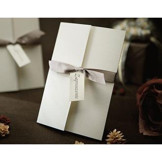 Zaproszenia Ślubne w Kolorze Białym z Wysrebrzaną Okładką T1104