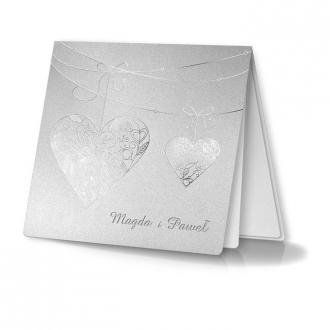 Zaproszenia Ślubne w Wysrebrzone Serca,Wypełnione Wzorem F1031tb