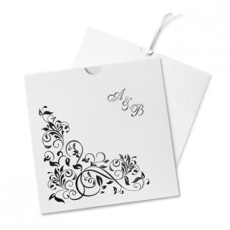 Zaproszenia Ślubne z Czarnym Kwiatowym Ornamentem F1042