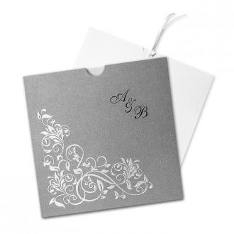 Zaproszenia Ślubne w Kolorze Szarym z Ornamentem Kwiatowym F1042s