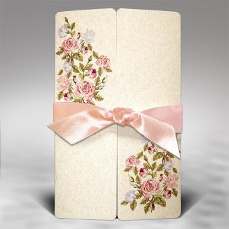 Zaproszenie Beżowe z Kolorowymi Kwiatami Eko Papier F1290