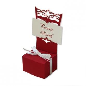 Winietka Ślubna w Kolorze Bordowym w Kształcie Krzesełka FLW28bg