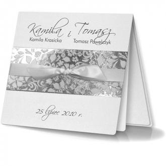 Zaproszenia Ślubne z Ornamentem Kwiatowym ,Przewiązanym Białą Wstążką F975q