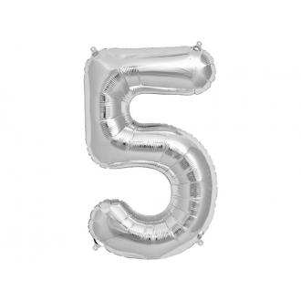 "Balon foliowy 34"" Cyfra 5, srebrny, 1szt."