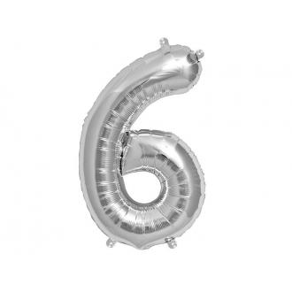 "Balon foliowy 34"" Cyfra 6, srebrny, 1szt."