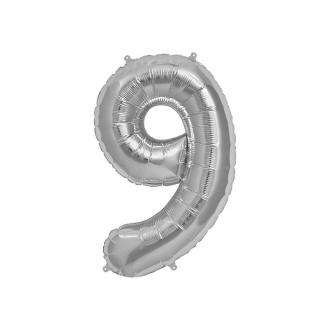 "Balon foliowy 34"" Cyfra 9, srebrny, 1szt."