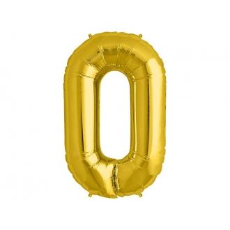 """Balon foliowy 34"""" Cyfra 0, złoty, 1szt."""