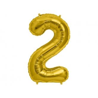 """Balon foliowy 34"""" Cyfra 2, złoty, 1szt."""