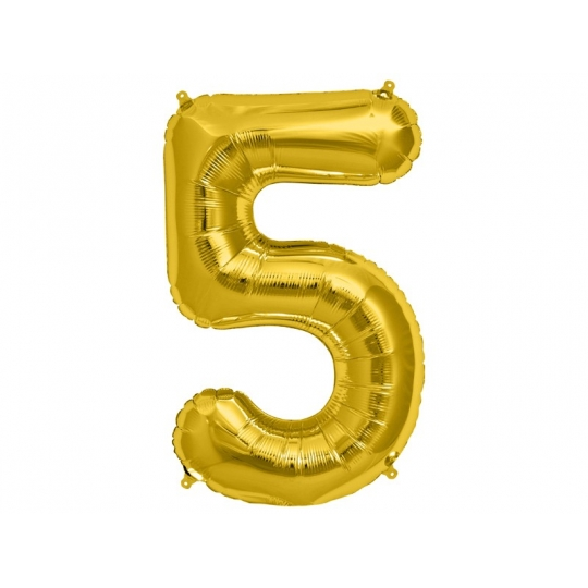 """Balon foliowy 34"""" Cyfra 5, złoty, 1szt."""