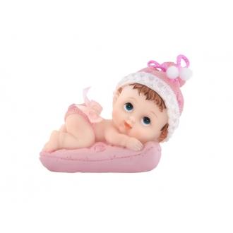 Figurka Dziewczynka z poduszką, różowy, 9cm, 1szt.