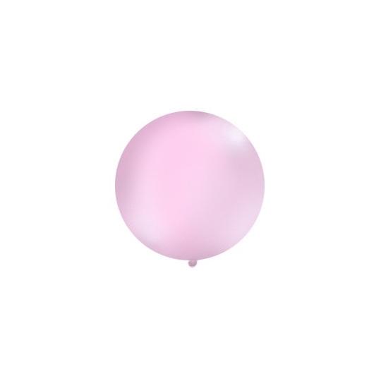 Balon 1m, okrągły, Pastel różowy, 1szt.