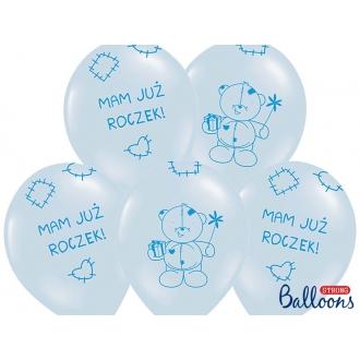 Balony 30cm Miś - mam już..., P. Baby Blue, 6szt.