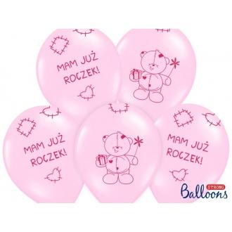 Balony 30cm Miś - mam już..., Pastel Pink, 6szt.