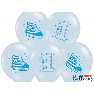 Balony 30cm, Trampek - Number 1, P. Blue, 6szt.
