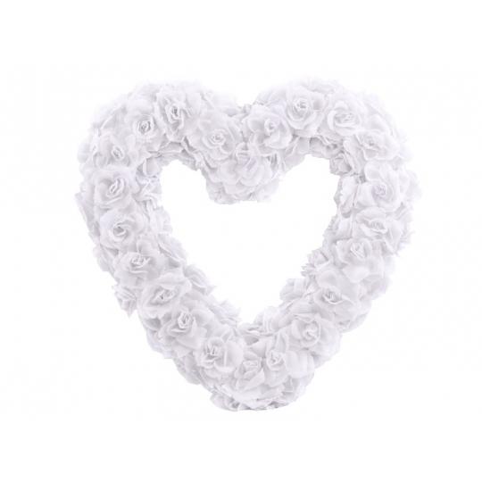 Serce kwiatowe puste, biały, 50cm, 1szt.