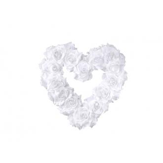 Serce kwiatowe puste, biały, 40cm, 1szt.